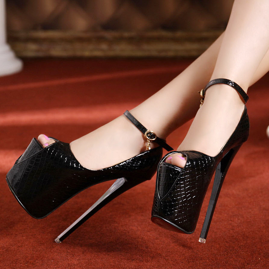 19cm Extreme High Heel Summer Style Sexy Stiletto Sandals Peep Toe Platforms Women Pumps White Black Shoes High Quality<br><br>Aliexpress
