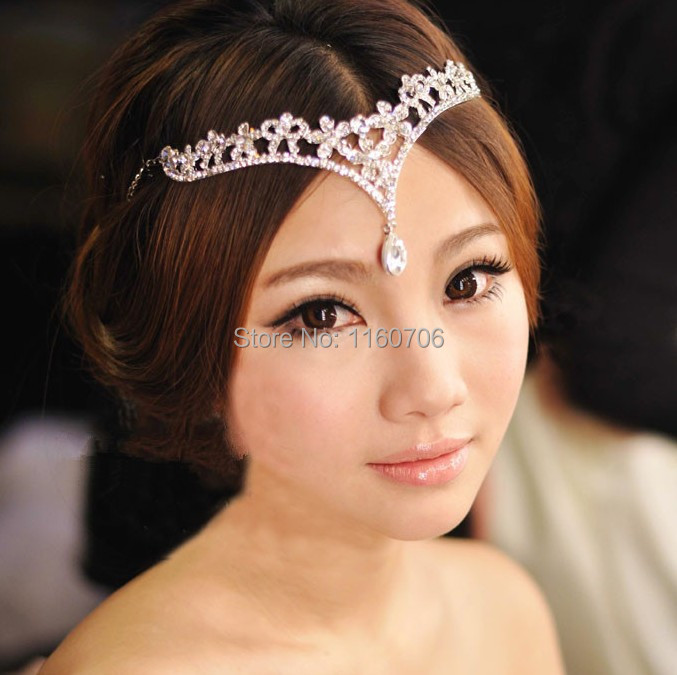 2016 Fashion Silver rhinestone Head Chain Headpiece wedding bridal tiaras jewelry for Wedding Hairbands hair accessories