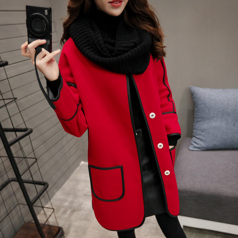 2016 Spring and Autumn Woolen Coat Women Long Section of Loose Thin Round Neck Was Thin Korean Version of Large Size Women N64