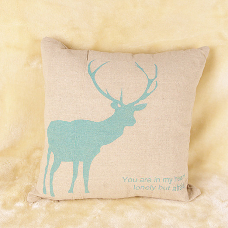 Manufacturers hold custom Nordic decorative pillow green cotton pillowcase heat transfer logo ...