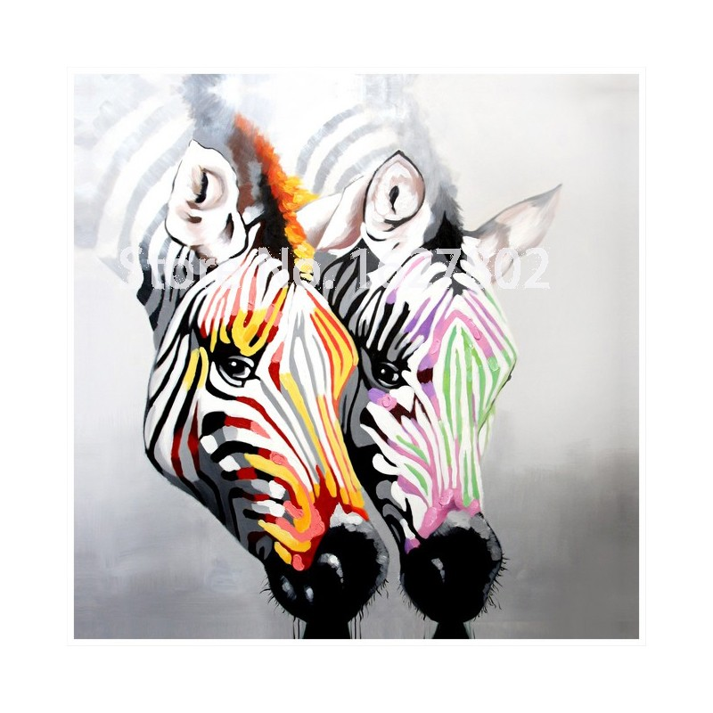 Handpainted Modern Abstract Wall Art Two Zebra Oil Painting On Canvas Prints Animal Pictures For Living Room Decor(China (Mainland))