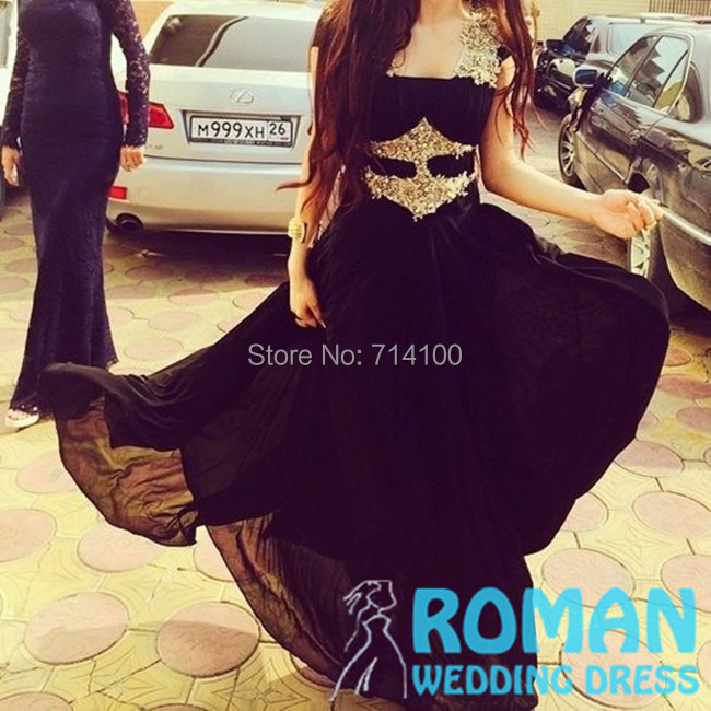 Straps Golden Appliques Lace Beads Empire Pleat Floor Length Black line Chiffon 2015 Prom Dresses Roman Wedding - Sheepherder Store store