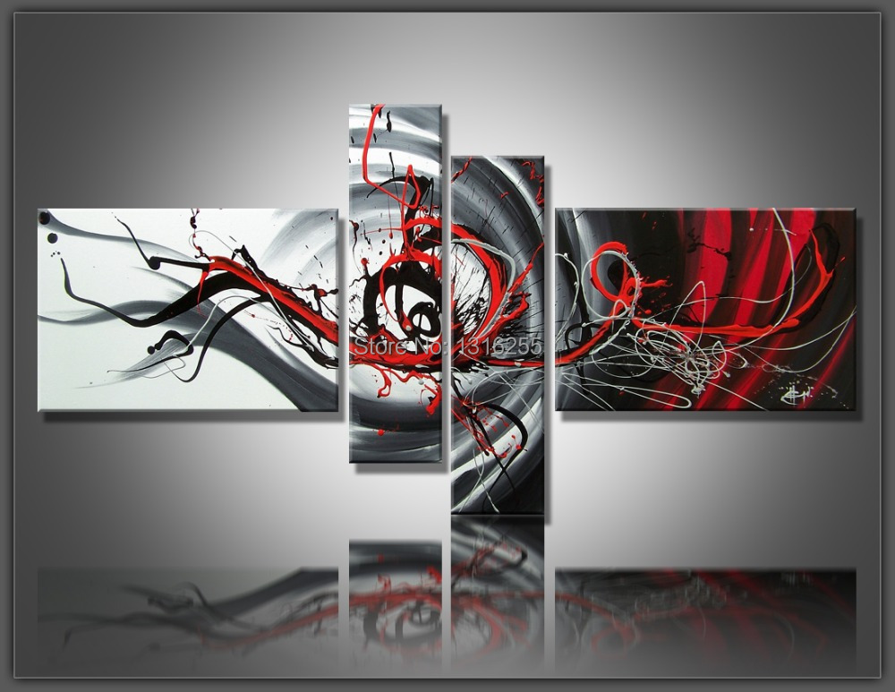 4 pcs set large canvas art abstract oil painting black for Red wall art