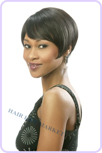 Hu man Hair wedge style cut with side swept bang wig Natural Texturing for easy styling(China (Mainland))