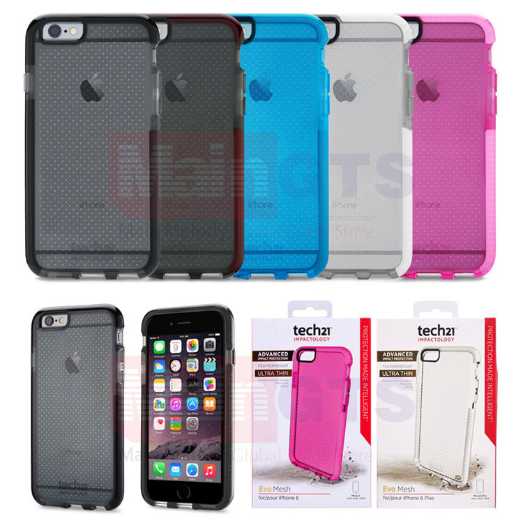 Tech21 Evo Mesh Drop Protective Impact Case for iPhone 6 4.7 Soft TPU Tech 21 Shell for iPhone 6 Plus in Retail Box(China (Mainland))
