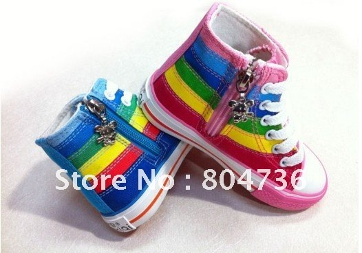 kid's shoes zipper on side lace-up children's shoes canvas sneaker kid sneakers boy&girl canvas shoes(EUR25-36) free shipping