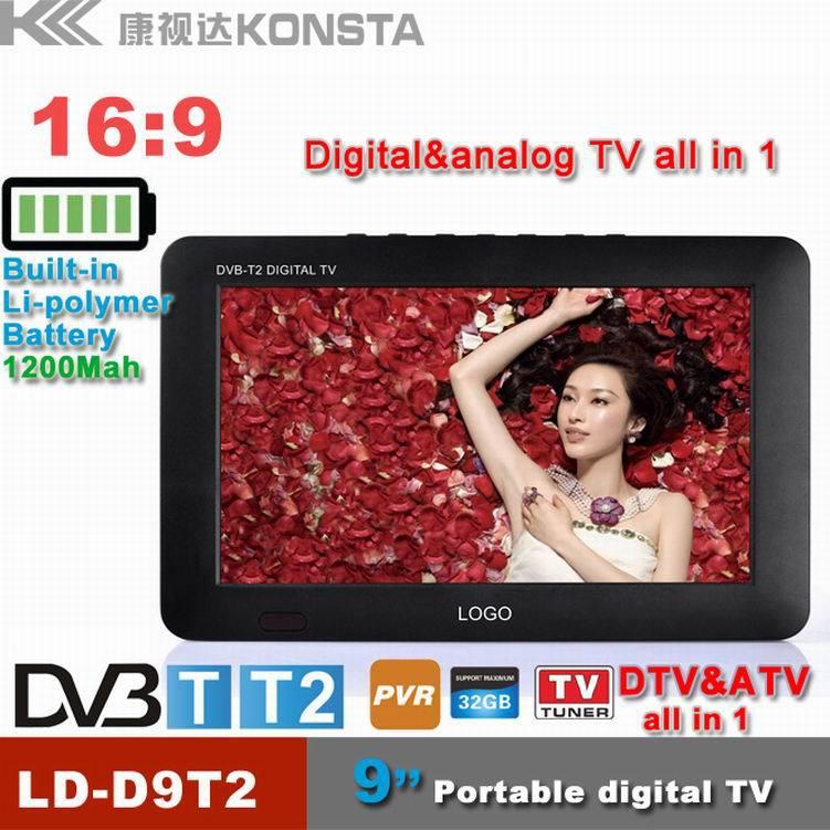 9 inch 16:9 TFT DVBT2/DVBT digital & analog mini led HD portable TV all in 1 Support USB record TV program(China (Mainland))