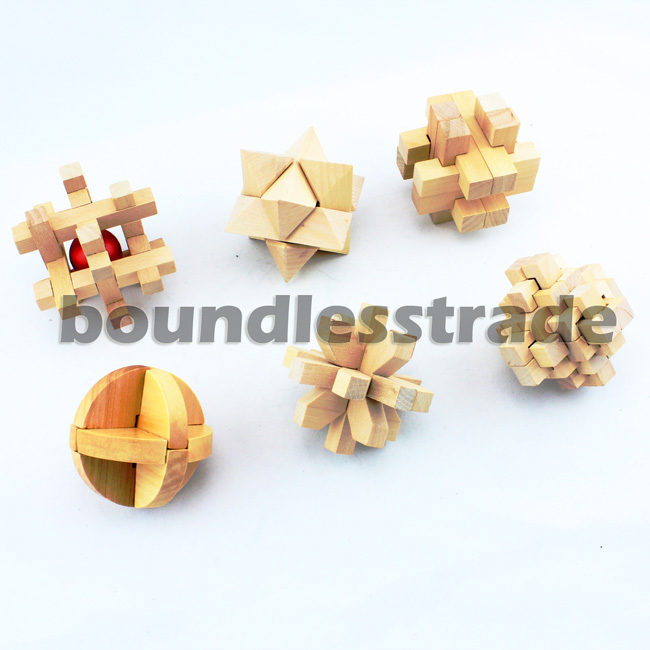 Free shipping 6pcs Chinese Wooden Jigsaw Puzzle Game Toy KongMing Lock Toy sets Magic Cube_SP117(China (Mainland))