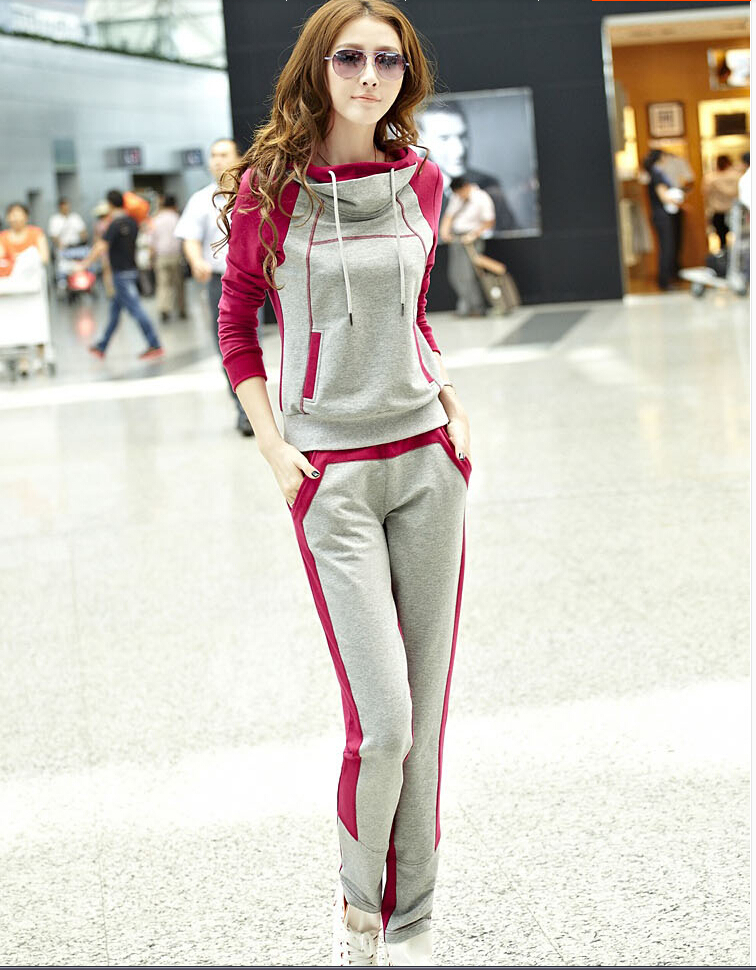 Spring 2014 Women Korean version Slim spell color sweater piece fitted sportswear leisure suit jogging - Snow clothes spinning store