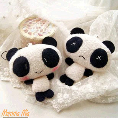 Hot Sale Kawaii Small Pendant Panda Plush Toy 10 cm PP Cotton Kids Toys Pelucia Peluche Juguetes for Weeding Party Gift DIS0488(China (Mainland))