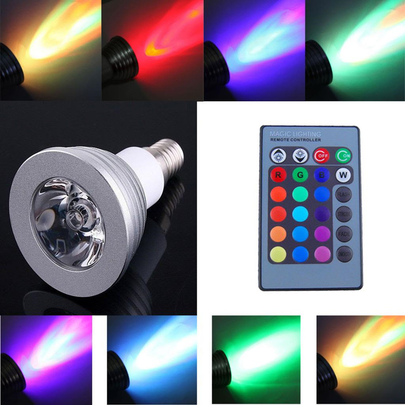 LED Christmas lights 6W E27 E14 MR16 B22 GU5.3 E26 GU10 Color LED RGB Magic Light Bulb 16 Colors Changing With Wireless Remote(China (Mainland))