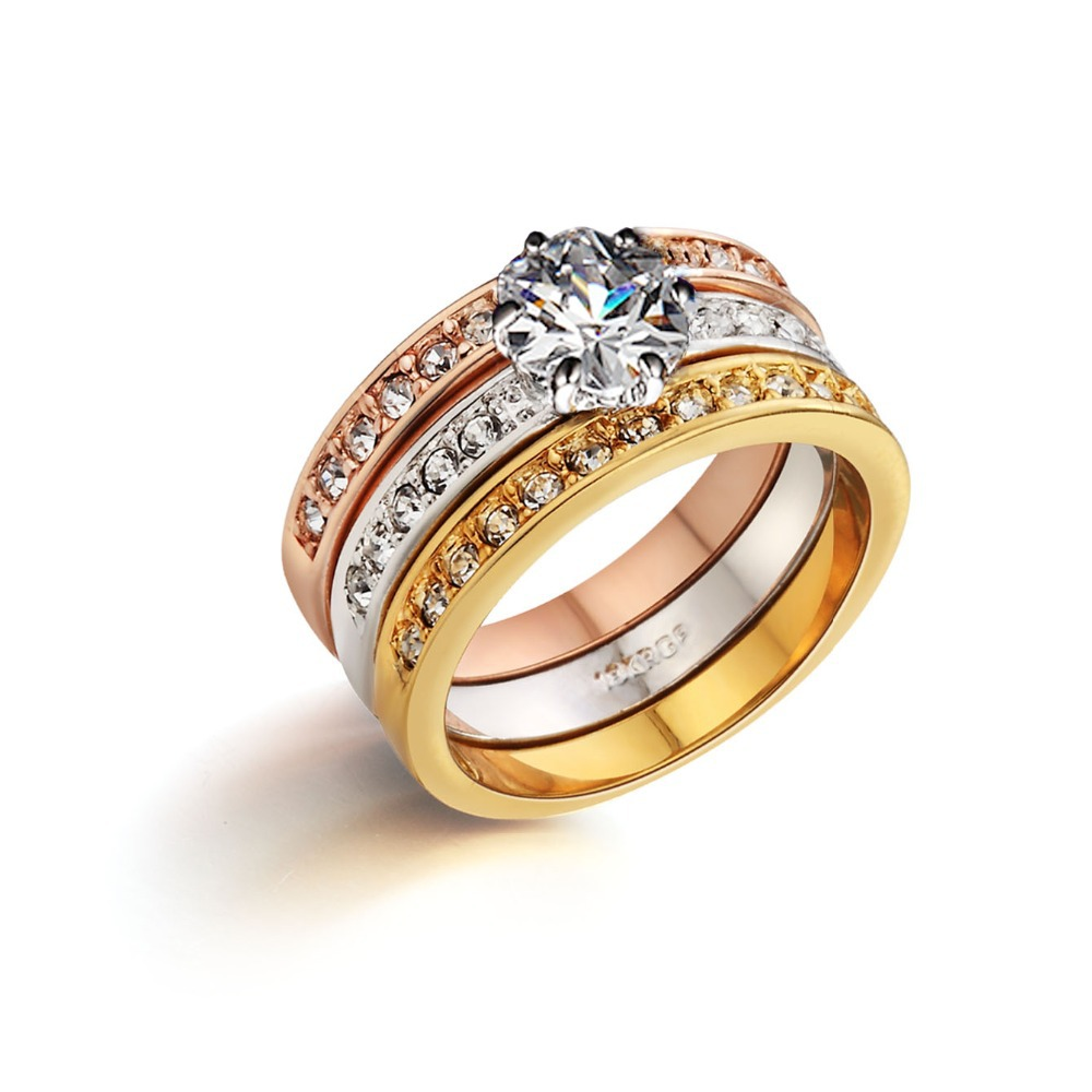 genuine italina 18k gold plated wedding 3 rings set brand