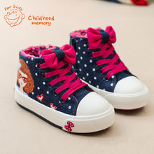 Baby Girls Winter Canvas Shoes Denim Plush Velvet  Baby Sneaker Fashion  Baby Shoes Dot Print High-Top Chaussure Enfant(China (Mainland))