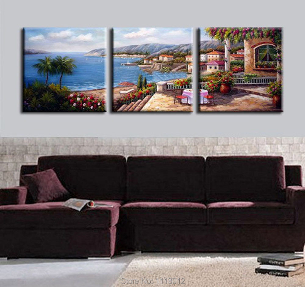 High quality 3pcs set sea sandy beach house oil painting on canvas home wall art decoration - High quality exterior paint set ...