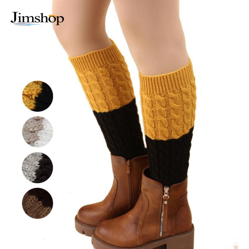 Jimshop Retail New Women Girls Leg Warmers double color knit boot cuffs winter socks women's accessories - Store store