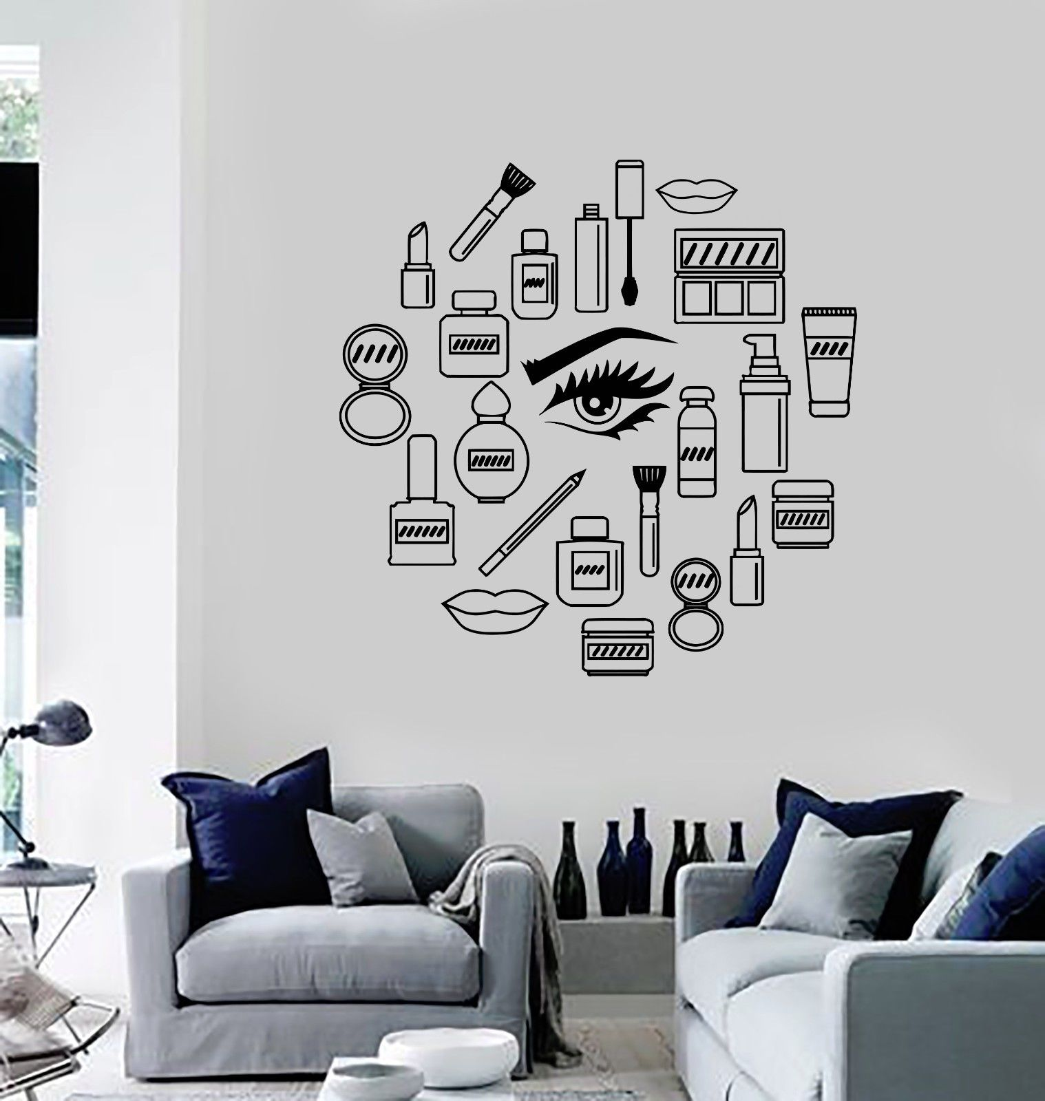 2016 new women Vinyl Decal Makeup Cosmetics Woman Girl Beauty Shop Wall Stickers free shipping(China (Mainland))