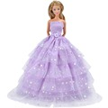 E-TING New Doll Handmade Multilayer Purple Wedding ceremony Princess Get together Gown Garments For Barbie Doll Kids's Reward
