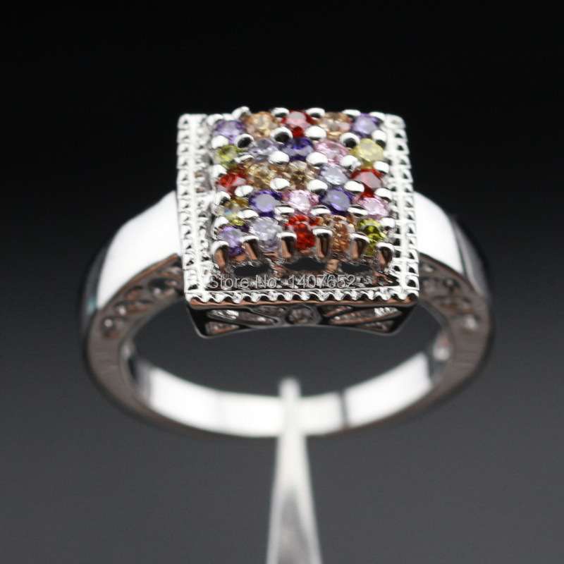square multicolor stones wedding rings for cz silver