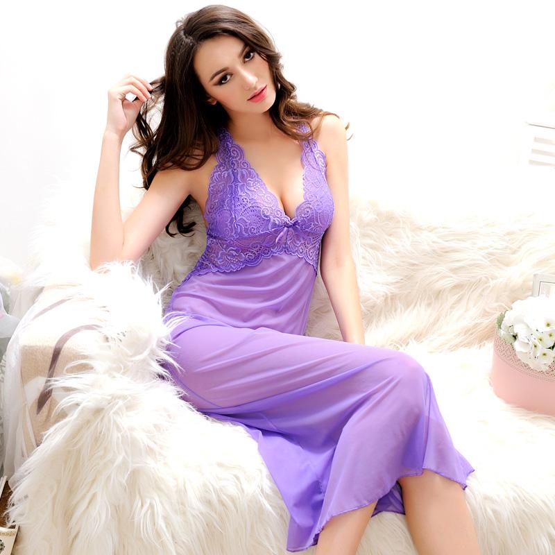Summer Womens Nightdress With G-String Thongs Spaghetti Strap Backless Nightgown Sexy Nightgowns Long Nightwear Woman Sleepwear(China (Mainland))