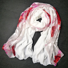 Scarf cape dual burnt-out raw silk women's silk scarf sunscreen peones rose chiffon scarf(China (Mainland))