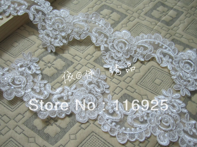 Bridal Wedding Dress Veil Embroidery Beaded Lace Trim ,Lace Trim with Rhinestone