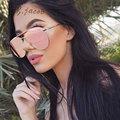 Pilot Flat Lens Brand Designer Sunglasses Women Men Fashion Mirror Metal Frame Lady UV400Brown Sun Glasses