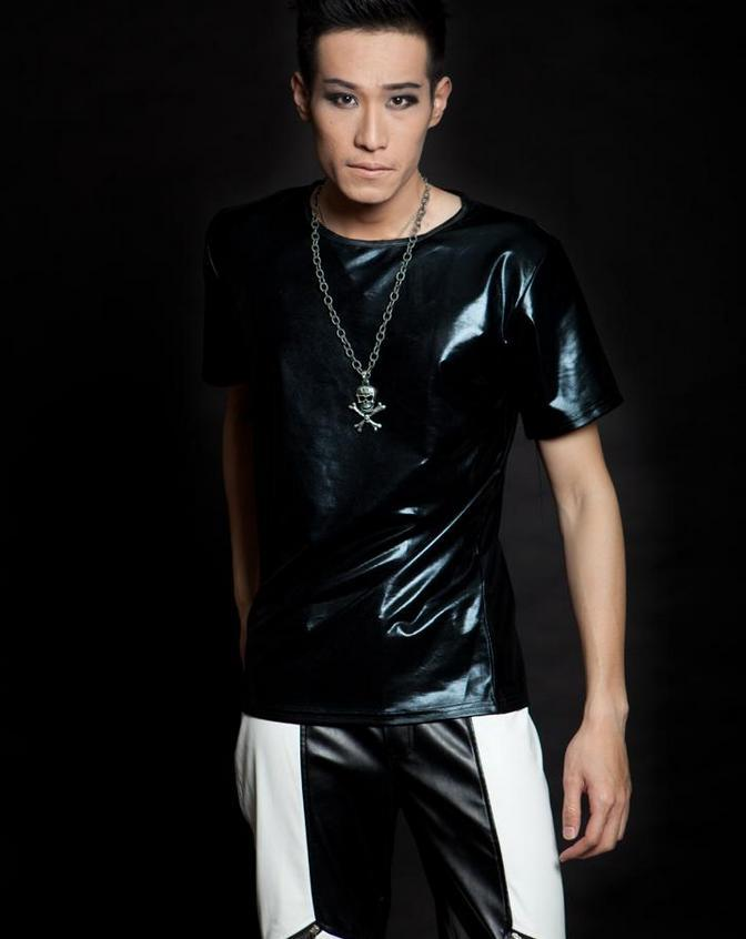 Black singer stage rock faux leather tshirt pu t shirt men for Mens shirts with leather