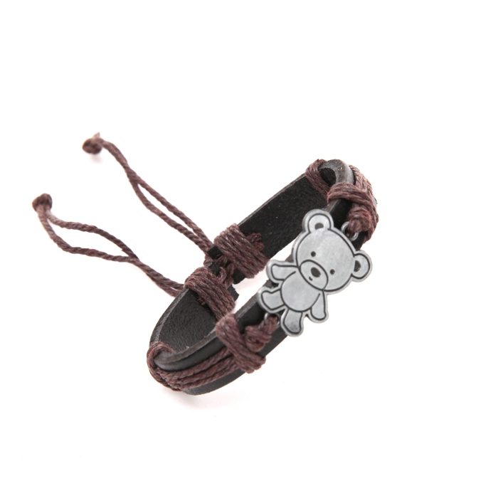100 Brand New Cuff Bear Bracelet Leather Charms Genuine Leather Bracelets Men Bracelets for Women Gifts