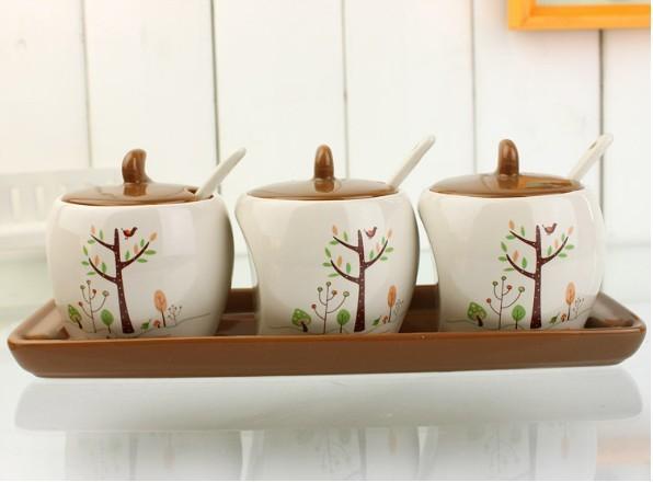 Free Shipping Fashion ceramic spice jar piece set seasoning box seasoning bottle kitchen supplies spoon