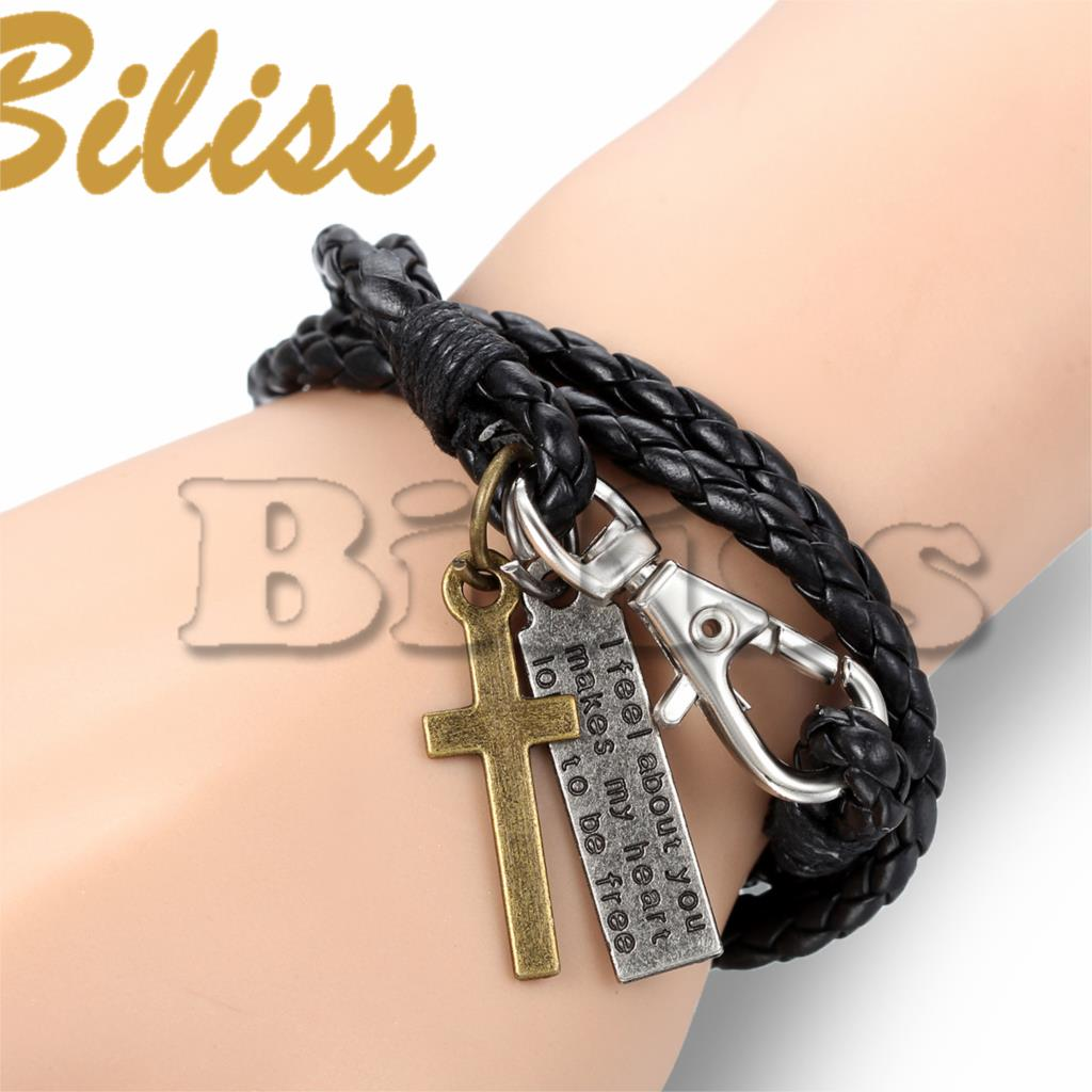 22cm Vintage Men Jewelry Black Leather Bracelet with Cross for Men Multilayer Braided Wrap Bracelet & Bangles pulseras cuero(China (Mainland))