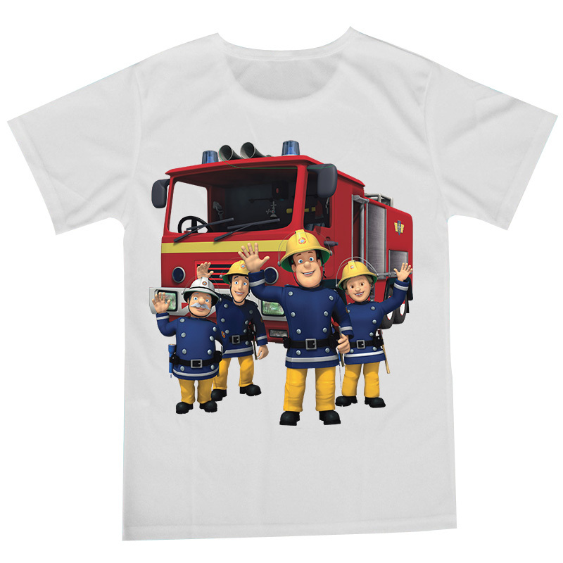 Promotion T Shirt Kid Animation Cartoon Printed New Fireman Sam Girls Shirts Boys Tops Children Clothing(China (Mainland))