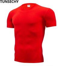 TUNSECHY, модная Однотонная футболка, мужские компрессионные обтягивающие футболки с коротким рукавом, S-4XL, летняя одежда, бесплатная доставка(China)
