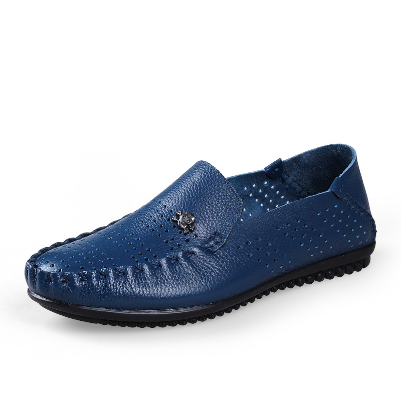 summer leather loafers fashion mocassin homme skull