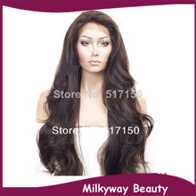 Free shipping long heat resistant natural wave #2 length12-30inch glueless synthetic lace front wig