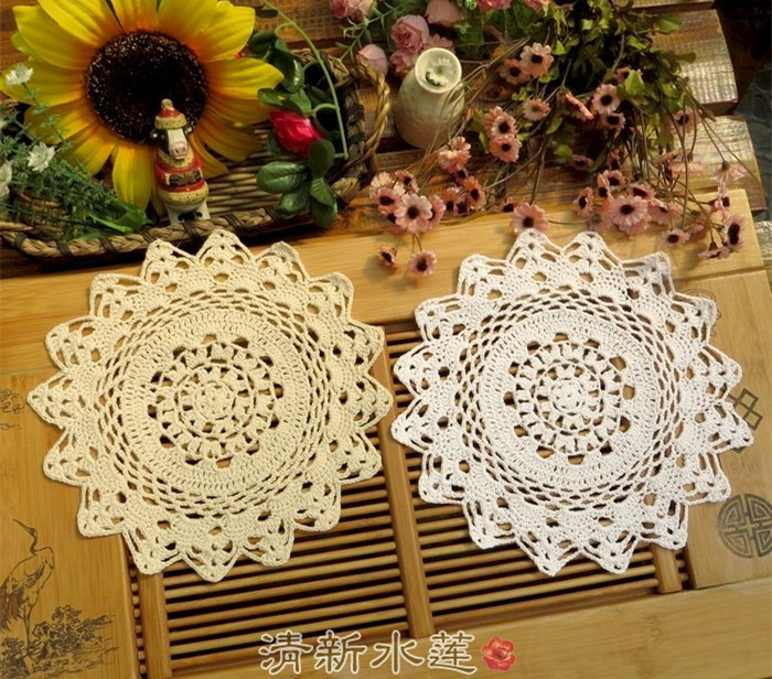 New 10'' Table decor 100% Cotton Handmade Crocheted Doilies Teapot Pads Vinate Chic Retro Table cloth Wedding supply Sofa Cover(China (Mainland))