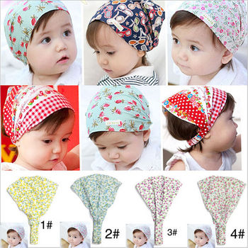 Baby Girl Bandana Hats Kid Newborn Flower Headband Hair Wear Accessories Headscarf Headwears 4 Colors