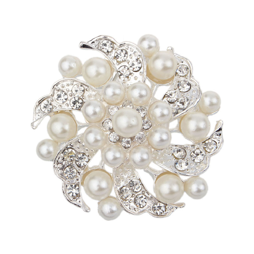 Best Deal New Women Fashion Crystal Rhinestone Scarf Buckle Imitation Pearl Brooch Pin Jewelry for Party Wedding Gift 1pc(China (Mainland))