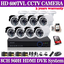 Kit Video Surveillance System 8CH CCTV System HDMI 1080P Output 8 600TVL Bullet camera Home Security Camera System 8CH DVR Kit