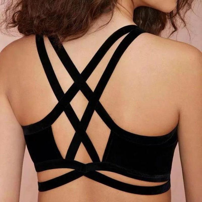 S-XL Black Women Camis Tops Sexy Back Cross Unpadded Bra Bralette Spaghetti Strap Women Crop Tops(China (Mainland))