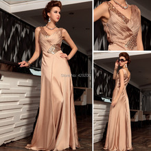 Amazing Beading Rhinestone Ruched Straght V Neck Tank Sleeveless Sweep Train Formal Satin High End Evening Party Prom Dresses