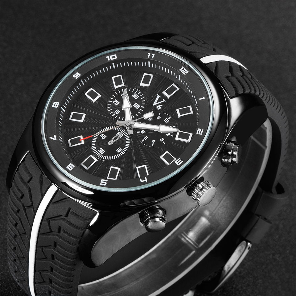 2015 V6 brand watches, mens business casual watch,strap wheel style design, sports watches, high quality silica gel watch strap<br><br>Aliexpress