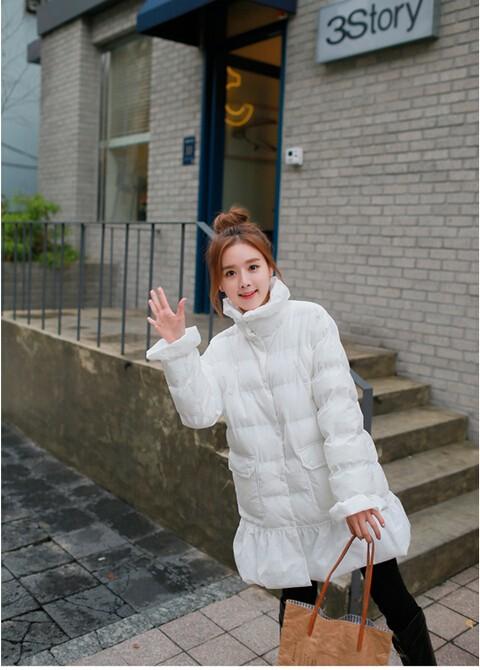 Скидки на 2015 зима новое поступление женщин стеганый хлопок пальто с длинными верхней одежды тонкий милый вырезать подол длинные рукава сладкий носки-20pairs дамы out041