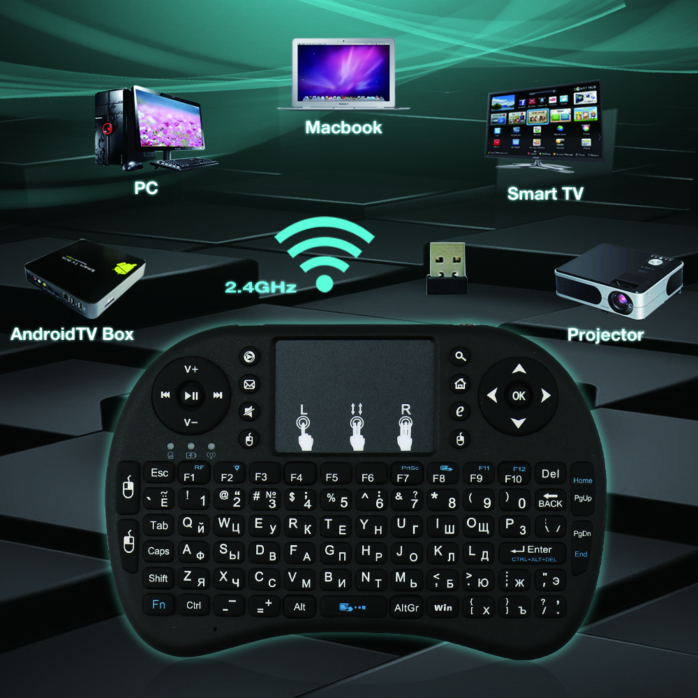 Origina Rii i8+ Mini Wireless Backlit  Russian Keyboard lwith Touchpad for Android TV, Box, PC,Smart TV<br><br>Aliexpress