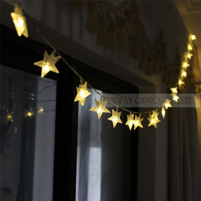 Battery String Lights Indoor : 2.3m 20LED Battery Five pointed Star Operated Fairy String Lights for Outdoor Indoor Wedding ...