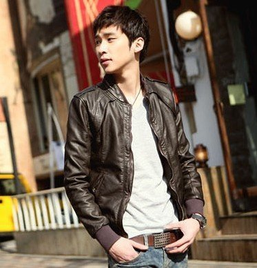 Autumn outerwear leather slim leather men's clothing slim water wash PU leather motorcycle jacket PU003