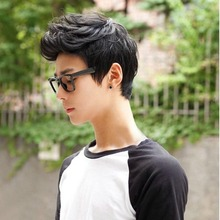 Hot Handsome Boys Full Wig New Korean Short Black Men's Male Hair Cosplay Wigs