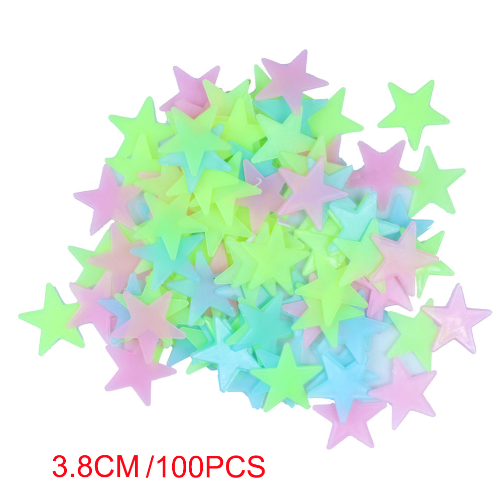 100pcs/lot 3.8cm Glow Wall Stickers room Decal Baby Kids Bedroom Home decoration Color blue yellow Stars Luminous Fluorescent DA(China (Mainland))