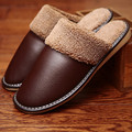 Genuine Leather Couple s Winter Indoor Slippers Warm and Comfortable Anti Slip Home fur Shoes for