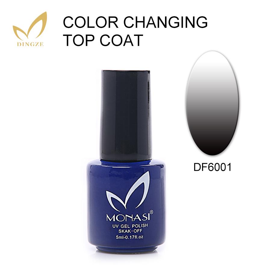 MONASI Temperature Chameleon Top Coat Nail Gel Polish Thermal Color Change Top Gel Nail Soak Off Nail Polish Changing Color Gel(China (Mainland))