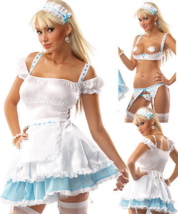 White Frisky French Maid Dress Costume Cute Biddy Skirt Sexy Backless Apron Clothes Wholesale Dropship #6002-42(China (Mainland))